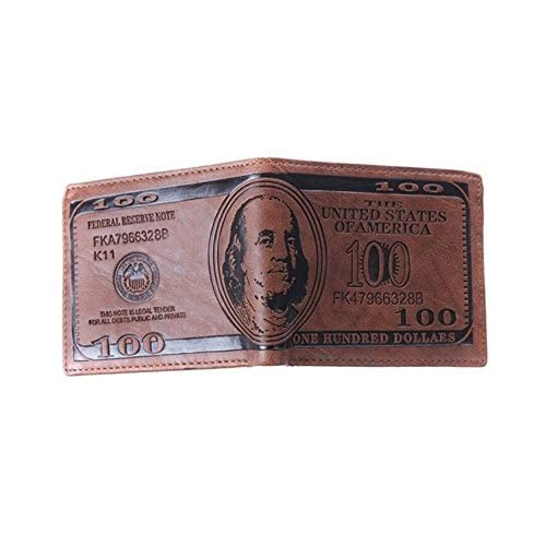 US Dollar Bill Men Wallet Brown PU Leather Bifold Credit Card Photo Holder