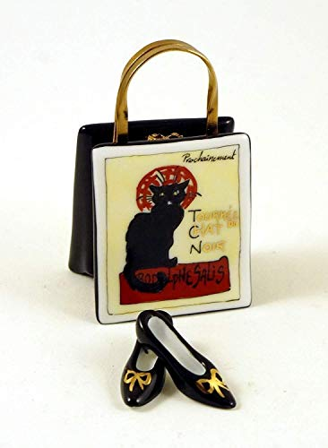 Authentic French Porcelain Hand Painted Limoges Box Chat Noir Black Cat Bag Purse with Black Pumps Shoes