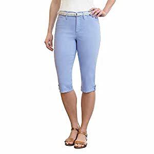 Gloria Vanderbilt Lillian Ladies' Belted Capri Sizes 4 thru 24W (14, Blue)