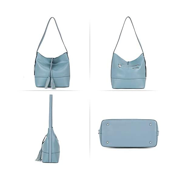 BOSTANTEN Women Leather Shoulder Bucket Handbag Tote Top-handle Purse light blue