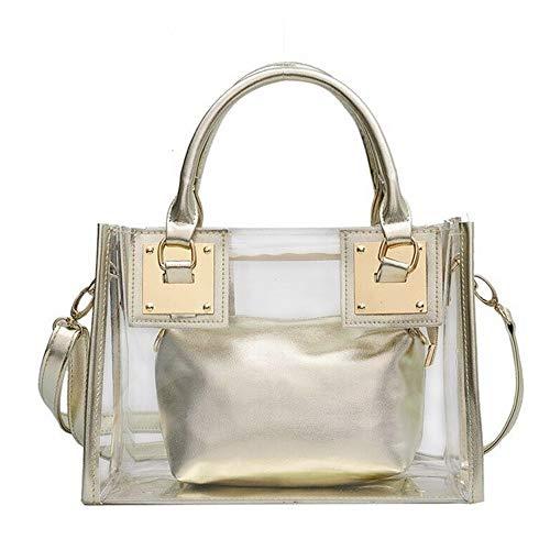 Segater® Bolso cruzado transparente para mujer, bolso de playa de gelatina transparente con asa superior para el hombro, color Transparente, talla Small
