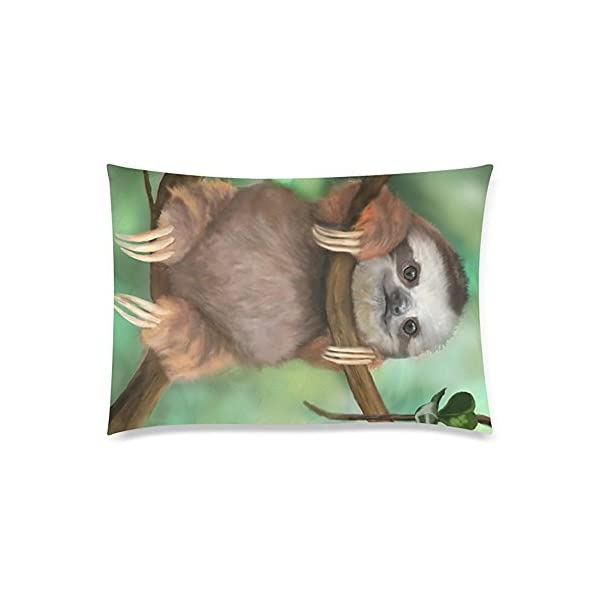 Love See You Smile Sloth Cotton Linen Decorative Throw Pillow Case Two Sides 20X30Inch Comfortable Various Patterns -