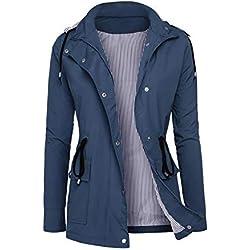 RAGEMALL Women's Raincoats Windbreaker Rain Jacket Waterproof Lightweight Outdoor Hooded Trench Coats navyblue XL