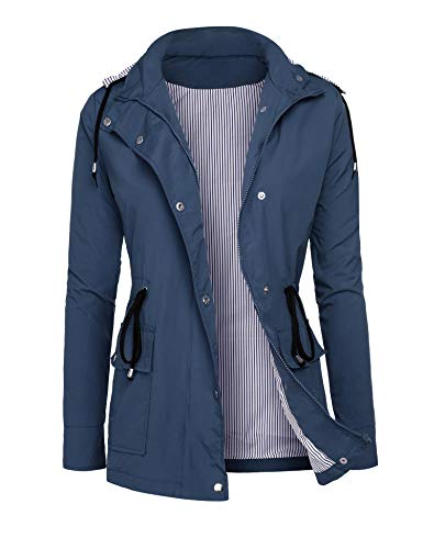 - RAGEMALL Women's Raincoats Windbreaker Rain Jacket Waterproof Lightweight Outdoor Hooded Trench Coats navyblue XL