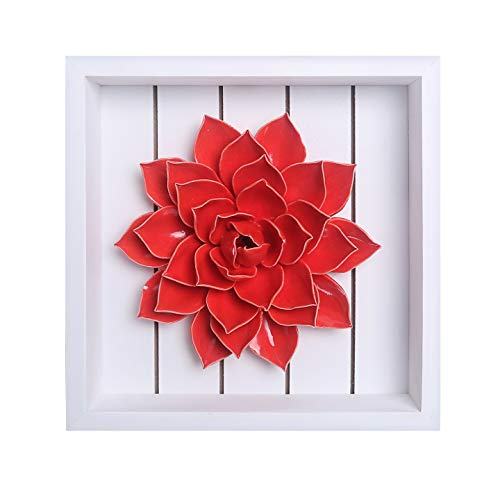 Bico Handcrafted Porcelain Red Lotus Sculpture with Wooden Frame Wall Decoration, 3D Wall Art, House Warming, Anniversary, Wedding, Birthday Gift, for Dining Room, Bedroom, Living Room Wall