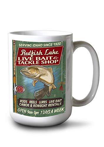 Lantern Press Redfish Lake, Idaho - Tackle Shop Trout - Vintage Sign (15oz White Ceramic Mug) (Framed Redfish)