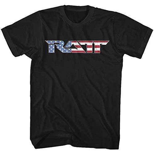 (American Classics RATT Flag Logo Medium Cotton T-Shirt Black Adult Men's Unisex Short Sleeve T-Shirt)
