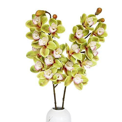 Jasming Artificial Flowers Plants Real Touch Cymbidium Orchid Fake Branches for Garden Home Decoration (Green) ()