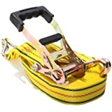 """PROGRIP 3108 Heavy Duty Ratchet Tie Down with Large Bar Handle and Webbing Strap: J-Hooks, 40'x 2"""""""