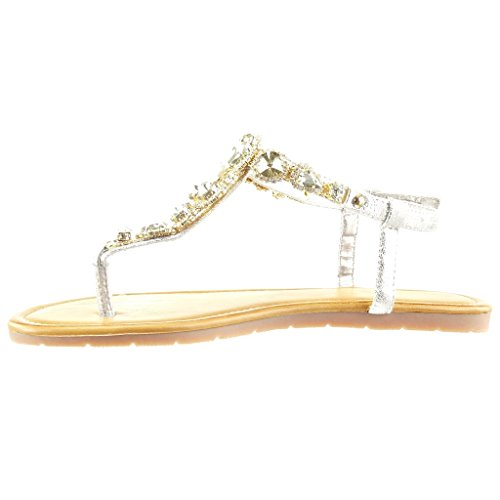 Angkorly - Chaussure Mode Sandale Tong salomés femme bijoux strass diamant Talon plat 1.5 CM - Or