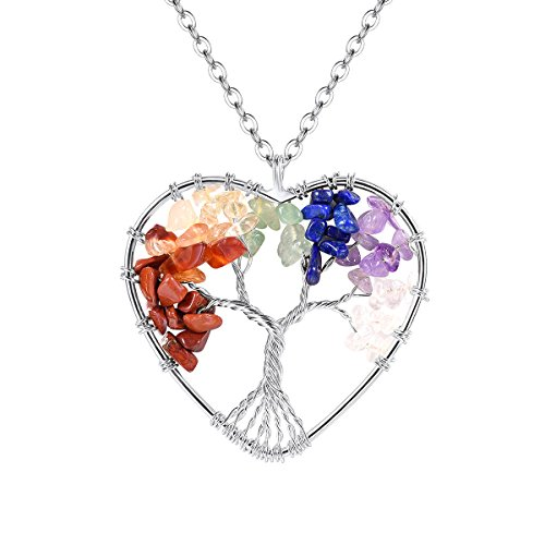 - FOCALOOK Heart Necklace Wire Wrapped Wisdom Ancient Colorful Healing Crystal Tumbled Stone Gemstone 7 Chakras Jewelry 31.5 inches Long Chain Women Stainless Steel Silver Colors Tree of Life Necklace