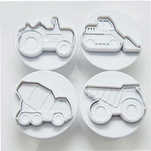 ケーキ型4ブルドーザーショベルショベルトラックトラックトラック車両クッキーカッターフォンダンツールプラスチックプレスプランジャ