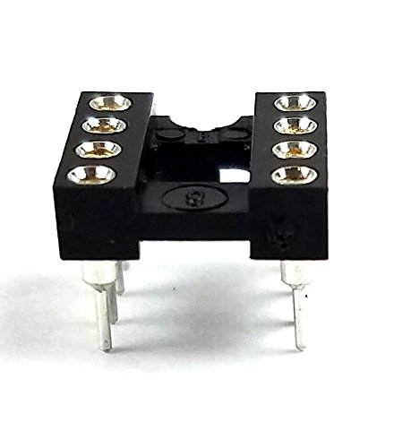 Juried Engineering DIP-8 IC DIP Sockets Machined Round Contact Pins Holes Pitch 2.54mm 8-Pin DIP DIP8 DIP 8 Breadboard-Friendly (Pack of 10)