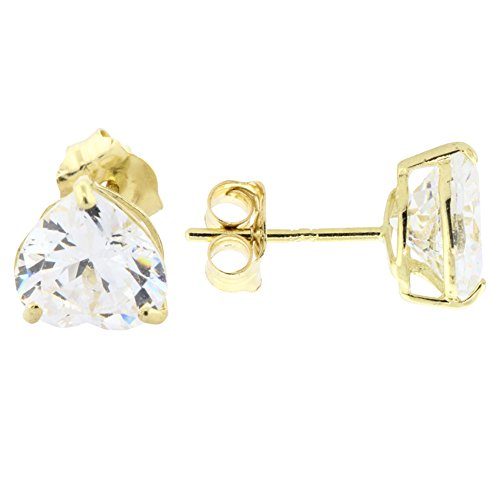 14K Yellow Gold Basket Set Heart-Shaped CZ Cubic-Zirconia Solitaire Stud Earrings 4, 5, 6 MM (6 ()