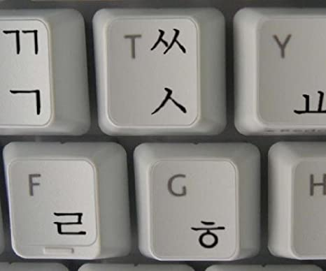 Pegatinas teclado coreano transparente con letras NEGRO - Apto para cualquier ordenador o portátil teclado