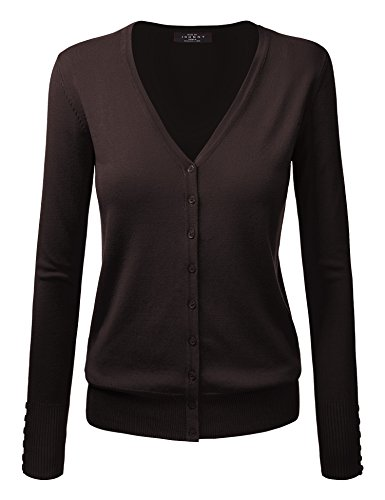 MBJ WSK780 Womens Keep It Classic V Neck Cardigan S Brown ()