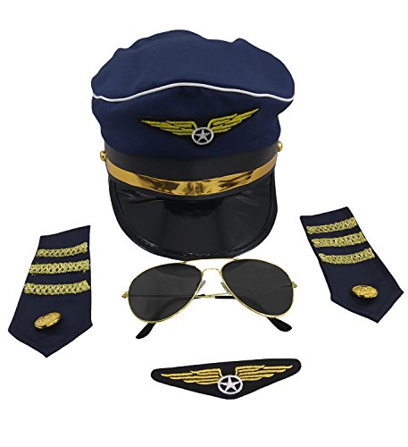 Airline Pilot Costume Accessory Set, Blue Gold, One Size -