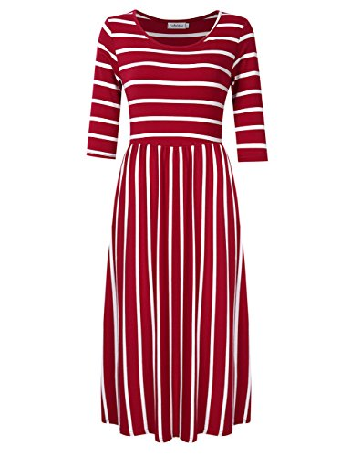 SoleMay Women's 3/4 Sleeve Scoop Neck Pockets Striped Pleated Loose Swing Casual Midi Dress Red XL (Striped Scoop Neck Pocket Dress)