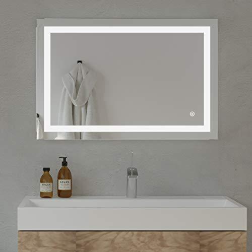 Home SCEVA Dimmable LED Lighted Mirrors Vanity Bathroom Frameless Backlit Wall Mirror -