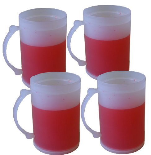 (SET 4, Double Wall Frosty Freezer Cold Mugs - 16OZ. RED)
