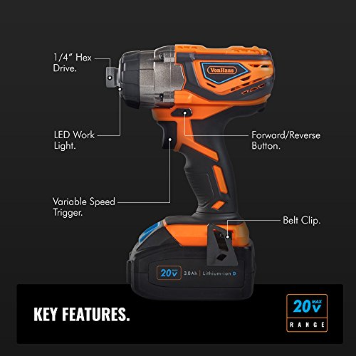 VonHaus Cordless Impact Driver with 3.0Ah Li-ion 20V MAX Battery, Charger & Power Tool Bag - Includes Direction Control & Variable Speed Trigger (¼' Hex Drive, 120Nm Torque)