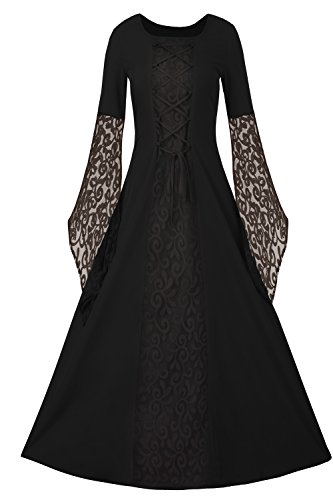 Plus Size Masquerade Costumes (Womens Halloween Cosplay Costume Renaissance Medieval Irish Lace Over Dress Gothic Dress)
