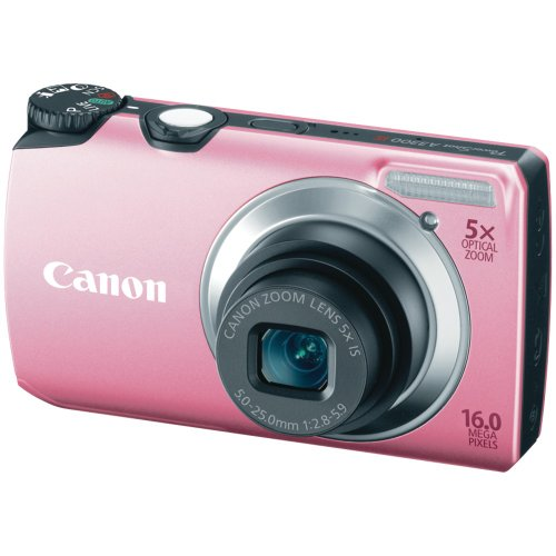 Canon PowerShot A3300 IS 16.0 MP with 5x Wide-Angle Optical Zoom (Pink)
