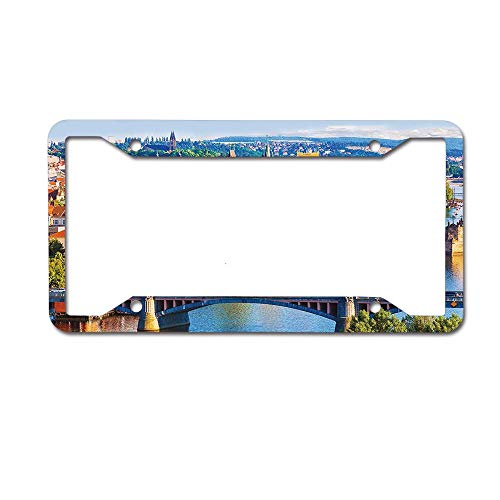 keyishangmaoLu Summer Old Town Charles Bridge Over Vltava River in Prague Czech Republic Image License Plate Frame Aluminum License Plate Frame Car Tag Cover 4 Holes and Screws