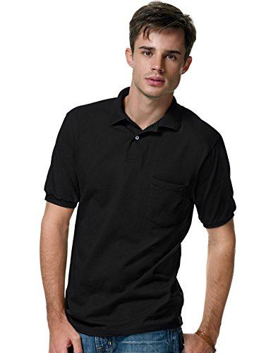(Hanes Cotton-Blend Jersey Men's Polo with Pocket 4X Black)