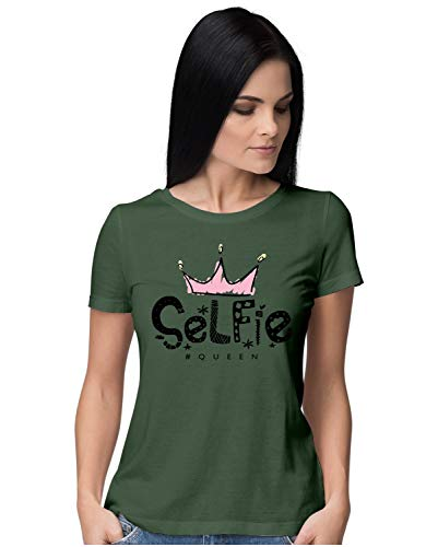 Heybroh Women's Regular Fit T-Shirt Selfie Queen 100% Cotton T-Shirt