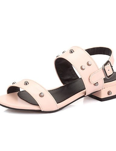 LFNLYX Zapatos de mujer-Tacón Plano-Comfort-Sandalias-Exterior / Vestido / Casual / Fiesta y Noche-Semicuero-Negro / Rosa / Rojo Red