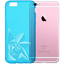 """Pierre Cardin Rose Pattern Protective Case TPU Rubber Soft Silicone Case Back Cover for Apple iPhone 6&6S(4.7"""") (Blue)"""