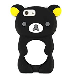 NOVELTY RUBBER SKIN SILICON SILICONE GEL JELLY SOFT FLEXIBLE APPLE IPHONE 5 BLACK BEAR
