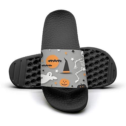 Sansalsk2 Man Modern Slipper Halloween Skeleton Pumpkin Ghost Grayblack Foam Open Toe Flat Shower Flip Flops]()