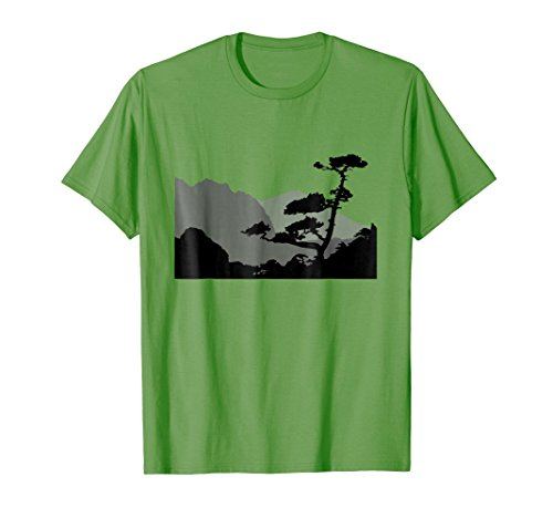 Silhouette Grass - Mens Mountain Zen | Scenic View Tree Silhouette Hiking T-shirt Large Grass