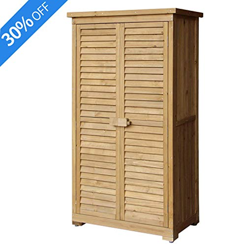 Outdoor Storage Shed, Aprox Garden Storage Shed Fir Wooden Shutter Design with Lockable Double Doors for Garden Yard (Natural)