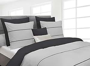 heckett & Lane Ropa de cama de percal gris claro antracita tamaño 200x 200cm (2x 80x 80cm)