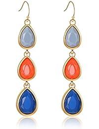 Fashion Creative Colorful Crystal Women Earrings Set Chunky Teardrop Gemstone Drop Dangle for Girls