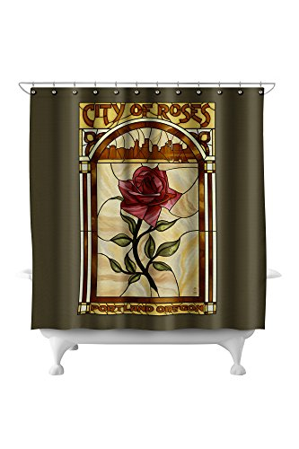Portland, Oregon - Rose and Skyline Stained Glass (71x74 Polyester Shower Curtain) (Stained Glass Portland)