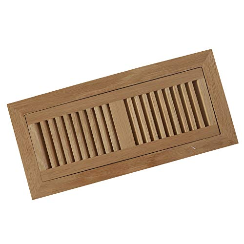 - 4 X 12 Inch White Oak Wood Flush Mount with Frame Vents,Floor Register Vent Cover Grille Unfinished by WELLAND, 3/4
