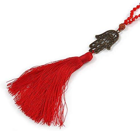 Avalaya Red Crystal Bead Necklace with Bronze Tone Hamsa Hand Charm//Silk Tassel Pendant 80cm L// 14cm Tassel