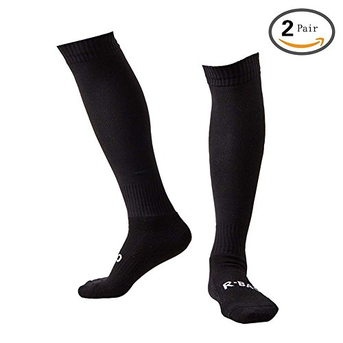 - Men's Sports Athletic Compression Football Soccer Socks Over Knee High Socks (Black 2 Pairs)