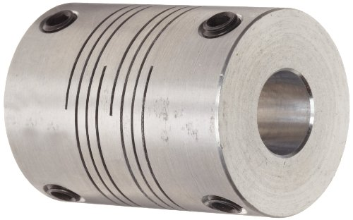 Ruland FSR20-8-8-A Set Screw Beam Coupling, Polished Aluminum, Inch, 1/2'' Bore A Diameter, 1/2'' Bore B Diameter, 1-1/4'' OD, 1-3/4'' Length, 107 lb-in Nominal Torque by Ruland