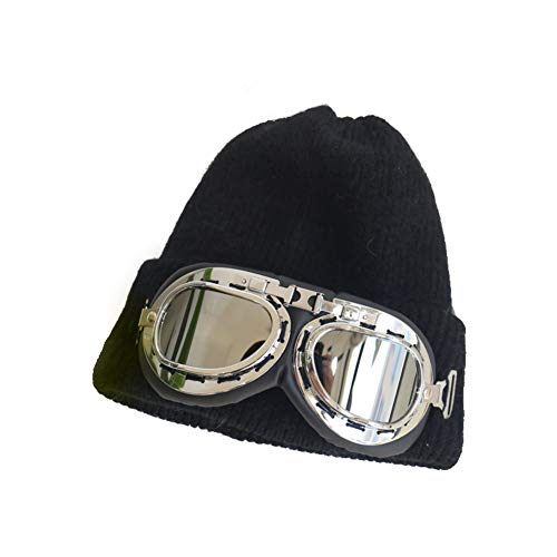 YXDDG Plain Knit Cap Cold Winter Cuff Beanie Women's Winter Beanie hat Fleece Lined with Goggles,Skiing can be Used as a ()