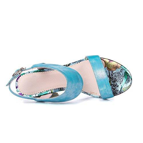 AllhqFashion Mujeres Hebilla Tacón ancho Material Mezclado Colores Surtidos Puntera Abierta Sandalia Azul