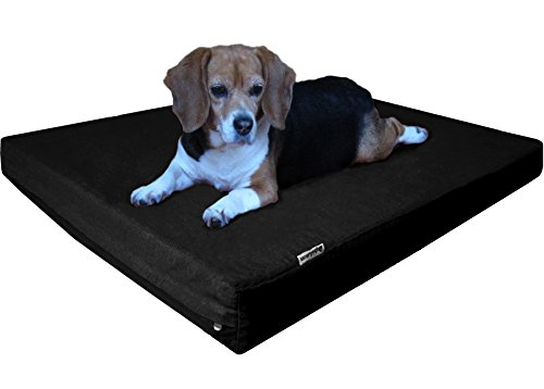 Dogbed4less Large Orthopedic Gel Infused Memory Foam Dog Bed, Waterproof Liner with Durable Canvas Cover, 41X27X4 Inch, Black (Fit 42X28 Crate) by Dogbed4less
