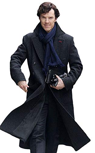 Marche Sydney - Sherlock Holmes TV Series Benedict Cumberbatch Wool Long Trench Coat Jacket (S) Charcoal Gray