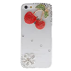 Shiny Cherries and Flower with Diamonds Covered Transparent Case for iPhone 5/5S