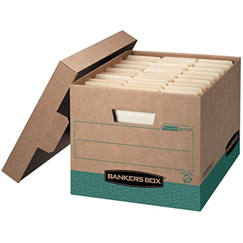 Bankers Box Side Tab Storage - Bankers Box R-KIVE Heavy-Duty Storage Boxes, FastFold, Lift-Off Lid, 100% Recycled,Letter/Legal, Case of 12 (12775)