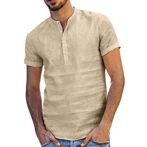 MILIMIEYIK Mens Cotton Linen Shirts Beach Short Sleeve Frog Button Up Lightweight Tees Plain Summer Mandarin Collar Blouses Khaki -